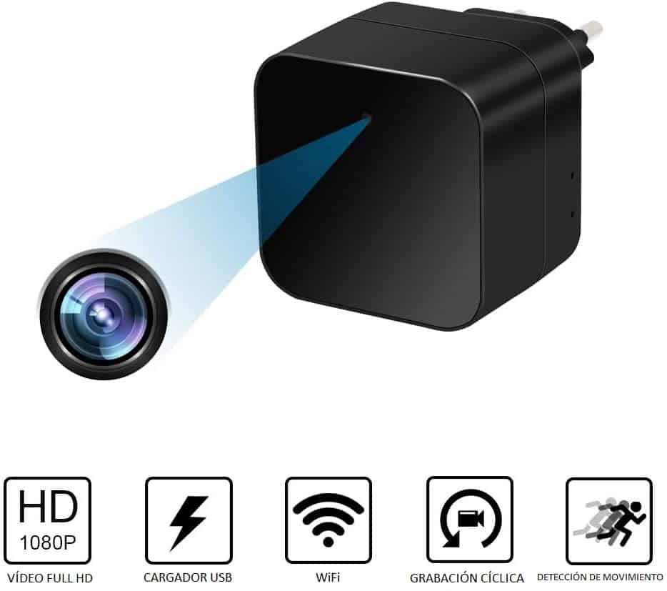 CÁMARA ESPÍA INALÁMBRICA WIFI P2P OCULTA EN CARGADOR USB TIPO TRANSFORMADOR FULL HD 1080P GRABACIÓN MICRO SD PROFESIONAL