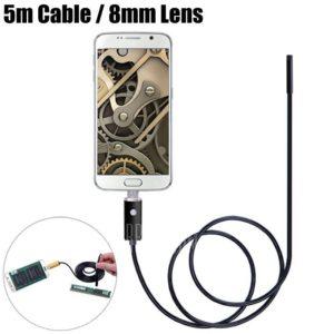 CÁMARA ENDOSCÓPICA BOROSCÓPICA HD 720P 2 MEGAPIXEL MICRO USB 5 METRO 8 MM DE DIÁMETRO SUMERGIBLE SMARTPHONE TABLET ANDROID