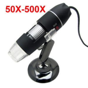 MICROSCOPIO DIGITAL X500 AUMENTOS USB CON BASE METÁLICA Y LUZ LED