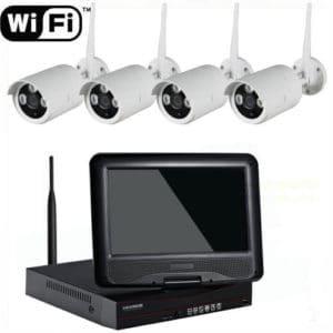 KIT DE VÍDEO VIGILANCIA CCTV INALÁMBRICO WIFI CON 4 CÁMARAS VISIÓN NOCTURNA Y VIDEOGRABADOR CON PANTALLA DE 10 PULGADAS