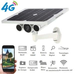 CÁMARA VÍDEO VIGILANCIA CCTV 3G 4G WIFI CON PLACA SOLAR AUTÓNOMA
