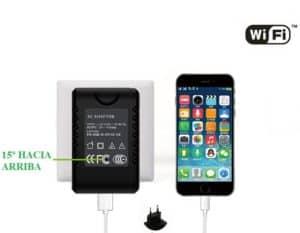 CÁMARA ESPÍA INALÁMBRICA WIFI P2P OCULTA EN CARGADOR USB FULL HD 1080P GRABACIÓN MICRO SD LENTE OCULTA INCLINADA 15º