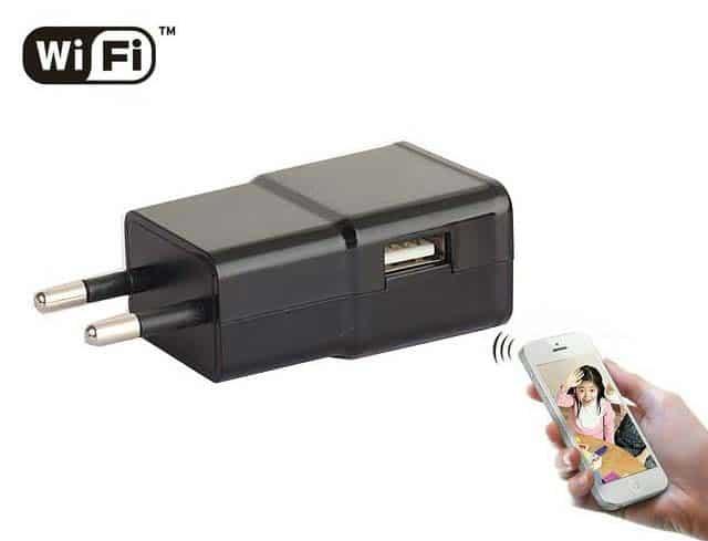 CÁMARA ESPÍA INALÁMBRICA WIFI P2P OCULTA EN CARGADOR USB TIPO SAMSUNG FULL HD 1080P GRABACIÓN MICRO SD LENTE OCULTA