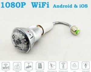 CÁMARA ESPÍA WIFI P2P OCULTA EN BOMBILLA LAMPARA LED 12 MEGAPIXEL FULL HD 1080P GRABACIÓN MICRO SD VISIÓN NOCTURNA