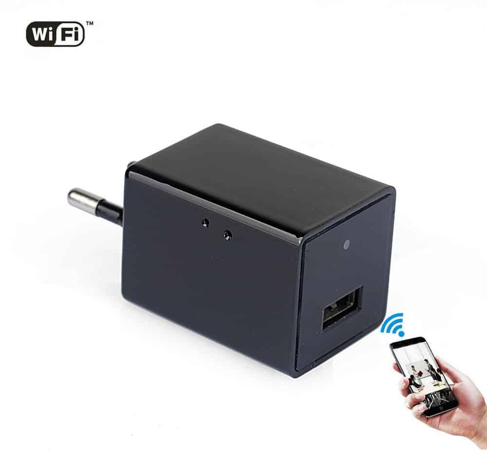 CÁMARA ESPÍA INALÁMBRICA WIFI P2P OCULTA EN CARGADOR USB TIPO IPHONE FULL HD 1080P GRABACIÓN MICRO SD LENTE OCULTA
