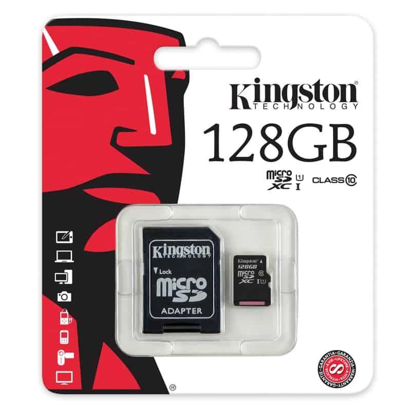 TARJETA DE MEMORIA MICRO SD KINGSTON SDXC 128GB CLASE 10 UHS-I
